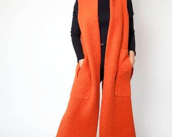 Handmade Burnt Orange Sleeveless Wool Coat