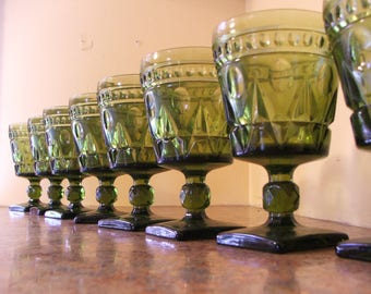 Vintage Set of Eight (8) Vintage 1960s Indiana Glass / Tiffin Green Colony Park Lane Water Goblets