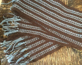 Hand Woven Blue Striped Scarf