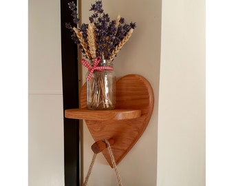 Hand Crafted Solid Oak Heart Shelf & Clothes Hook