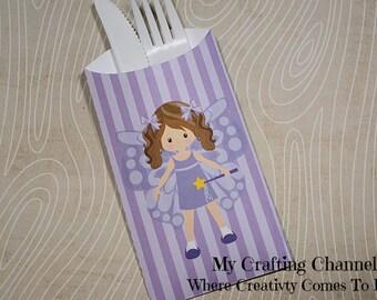 Little Girl Butterfly #1 Flatware Pouch Sets-Butterfly-Girl Butterfly-Silverware Pouch-Flatware Pouch