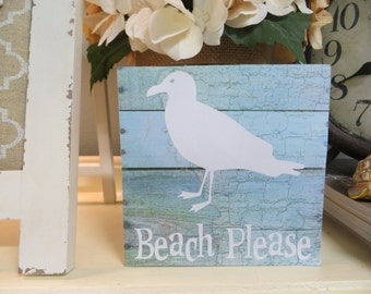 """Wood Sign, """"Beach Please"""", Beach Decor, Cottage Decor, Beach Lover Sign, Beach Themed Room"""