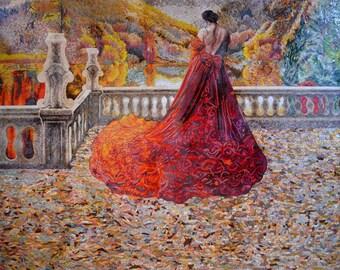 Female Figure Colorful Mosaic Autumn Leaves