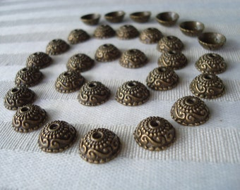 30 Ornate Bronze Domed Caps. Beautiful Detailed Pattern. Antiqued. 10x4mm  Perfectly Domed Bronze Cap.  USPS Ship Rates from Oregon