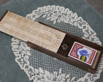 Cribbage Board with Card and Peg Storage, American Walnut and Bird's Eye Maple, Continuous, Three Track