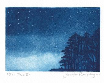 Trees II - Etching of a Tree by Jennifer Rampling