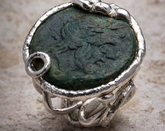 Semisse ring in silver with Roman coin