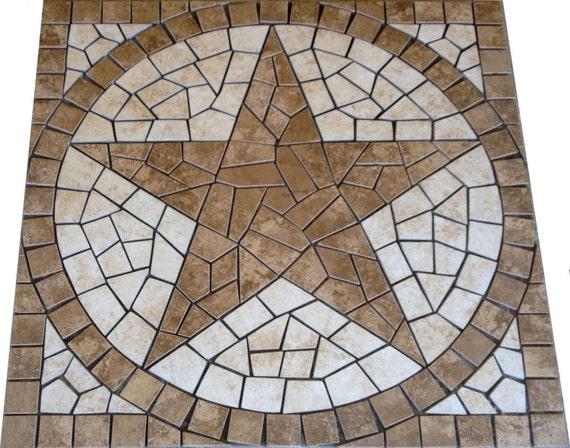 Square Charro Texas Star Mosaic Porcelain Tile Medallion