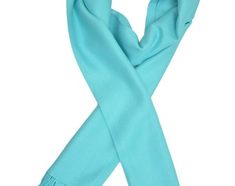 Cotton handmade Pale Turquoise plain scarf,