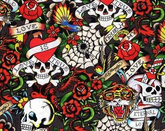 "Quilting Treasures Ed Hardy ""Love is True"" Gray Tattoo Fabric"