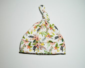 Organic pink yellow green floral island flower Cotton Knit Knot Beanie,Hat,Baby Toddler Infant Girl Hat,hawaiian take home outfit photo prop