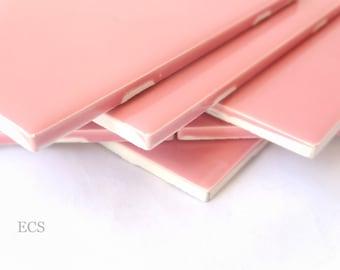 Surplus Ceramic Glazed Tile - Carnation Pink - Set of Four