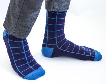 Blue Socks, Navy Socks, Mens Socks, Christmas Socks, Casual Socks, Gift for Men, Wedding socks, Groom Socks, Groomsmen Socks, Vintage Socks
