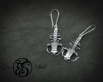 Silver and brass Frog Earrings