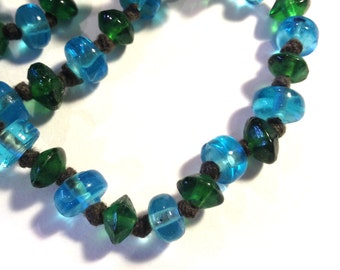 Cool African Beads - Emerald Green and Blue Glass Bead Mixture - Glass Beads for Jewelry Making or Beading