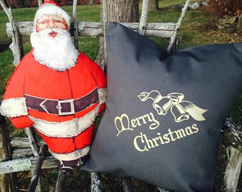 """Charcoal Grey Retro Merry Christmas with Bells Pillow Cover, 18"""" x 18"""""""