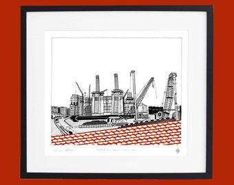 Battersea Power Station - Work in Progress screen print