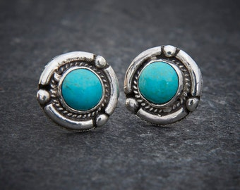 Turquoise Stud Earrings, Silver Studs, Silver and Turquoise, December Birthstone, Round Studs, Sterling Silver
