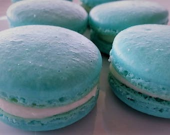 12 Gourmet Tiffany blue Vanilla Bourbon French Macarons in Gift Box-gluten free cookies,macaroons,wedding favors,bridal shower,engagement