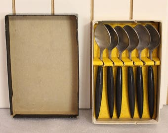 Vintage Stainless Steel and wood Small Spoon Set from Japan, Set of Six, Mid Century Tableware, Original Box