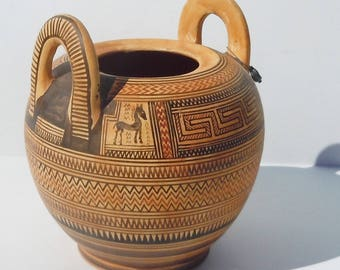 Greek Pottery / Vintage Replica of a 9th Century BC Vessel / Handmade in Greece over 30 years ago
