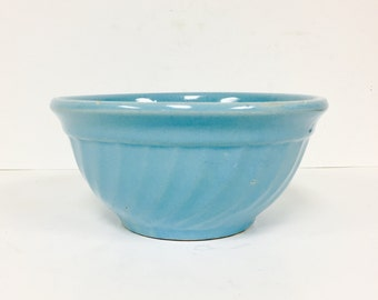 Rare Vintage Robins Egg Blue Mixing Bowl by Oven Ware USA - Retro Kitchen - Mid Century Pottery - Farmhouse Kitchen