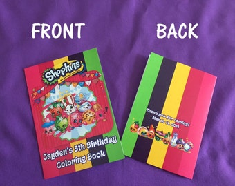12 Personalized Shopkins Coloring Books / with Crayons, Party Favors