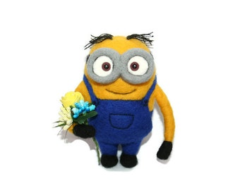 Minion. Neddle Felted Minion. Felt Minion. Felted Minion. Made to Order.
