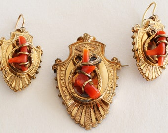 Antique Victorian Etruscan Revival Peach Coral 10K Gold Filled Vintage Pendant Brooch Earring Set