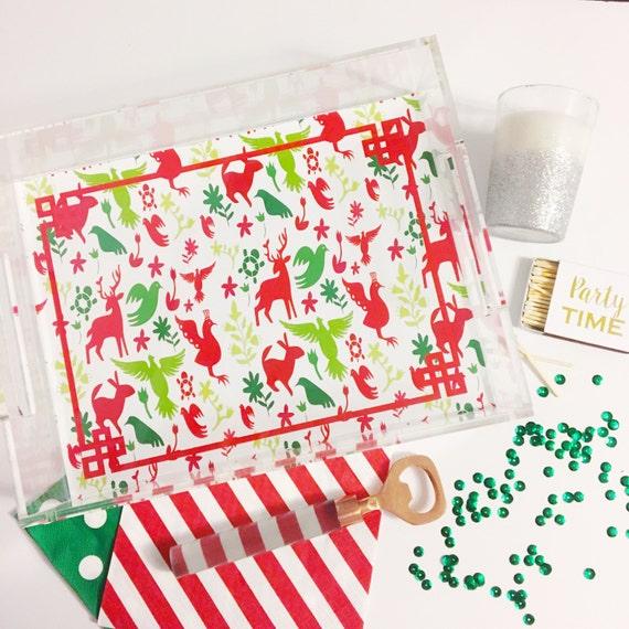 Christmas tray, Otomi print, acrylic tray, lucite catchall, serving tray, acrylic accessory, holiday gift idea