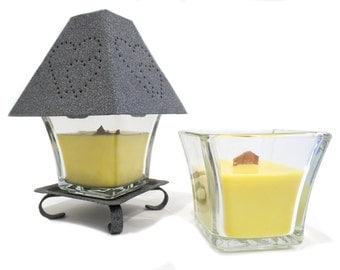 Beeswax Wood Wick Candle with Grey Heart Shade