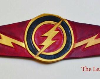 Flash leather cuff, flash bracelet, DC comics, justice league, Flash cosplay, leather bracelet, wally west, Flash costume