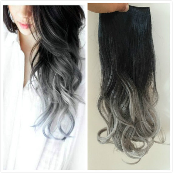 One piece dip dye clip in hair extensions ombre natural black like this item pmusecretfo Choice Image