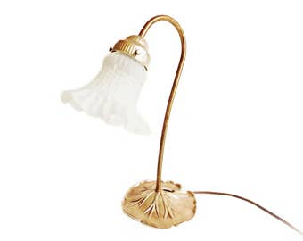 Vintage Gooseneck Lamp, Lily Pad Base with Frosted Glass Shade, Brass Gooseneck Lamp, Romantic Lighting, Circa 1970's