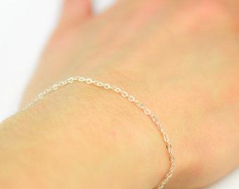 Chain bracelet, Sterling Silver, Fine Chain, mini chain wristband, wristlet