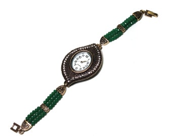 Bracelet watch, wrist watch, Ladies wrist watch, Cuff watch, beaded bracelet wrist watch, vintage style watch, Gift for Her,choice available
