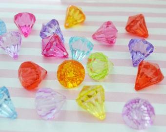 26mm Mixed Colors Gem Pendant Bead - set of 5
