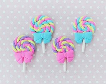 40mm Bright Swirl Lollipop Cabochon - set of 4