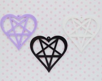 50mm Pastel Goth Pentagram Heart Pendant - set of 3