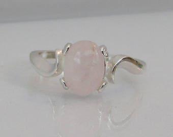 Rose Quartz Ring, Sterling Silver, 8x6mm Rose Quartz Gemstone, Rose Quartz Jewelry, Pink Gemstone, Natural Rose Quartz, Bridesmaid Gift