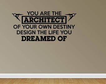 wall decal quote architect design your destiny vinyl wall lettering vinyl letters vinyl lettering office decal jp199 - Wall Stickers Design Your Own