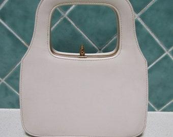 Gorgeous Vintage Beige Handbag - Purse -Cream - Noveltrim Handbags- Australia - 1960's