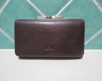 Brown Leather Cellini Wallet - Purse - !990's - Vintage