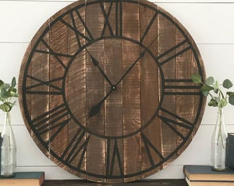 "Wood Clock Rustic Farmhouse Style Rustic Wooden Pallet ""Marissa"" Clock Walnut/Black Numerals- 4 sizes!"