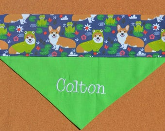 Corgi Frogs on a Lily Pad ~ Personalized ~ Over The Collar Dog Bandana