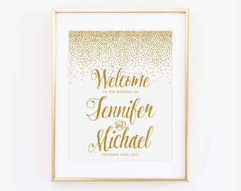 Printed Wedding Welcome Sign, Gold Welcome Wedding Sign, Welcome Wedding Sign, Rustic Wedding Sign, Wedding Sign, Reception Sign #CL116