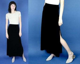 Black Velvet Holiday Skirt Small, Vintage 90s Black Long Velvet Slit Skirt, Vintage High Waisted Long Black Velvet Holiday Skirt NYE Small