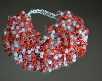Red White Necklace - White Red Illusion Necklace - Bridesmaid gift - Red Floating Necklace