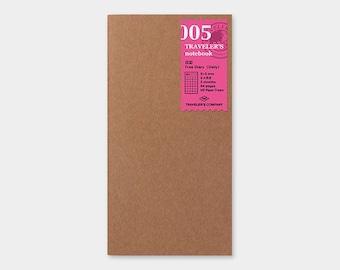 Traveler's Notebook Refill 005 Free Diary <Daily> Refill for Regular Size Traveler's Notebook | Midori Insert (14255006)