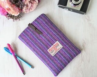 Harris Tweed tablet sleeve in purple, pink, turquoise tweed with leather tab & cotton lining | iPad mini cover, tech cosy | Handmade in UK
